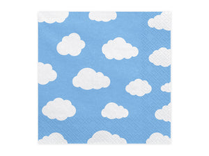 square paper napkins with light blue background with white clouds for aeroplane themed birthday party for girls and boys party or birthday parties from la di dah