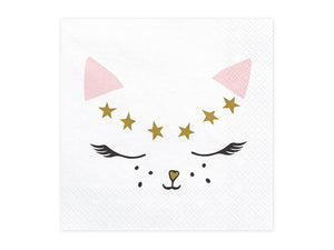 Ladidah london pink, white and gold cat themed napkin. Perfect girls and boys children's birthday party.