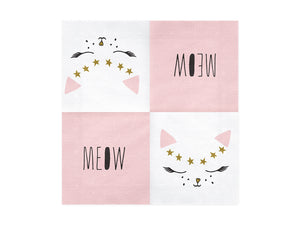 Ladidah london pink, white and gold cat themed paper napkin and meow napkin. Perfect girls and boys children's birthday party.