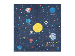 Space party themed napkin with planets.