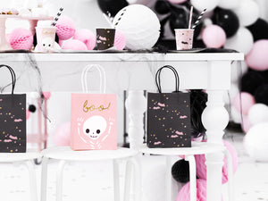 styled image with black halloween party bag wity pale pink bats, pale pink and gold stars