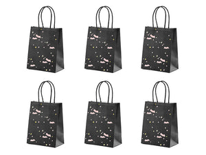 Six black halloween party bags with pink bat design with pale pink and gold stars