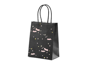 black halloween party bag with pale pink bats and pale pink and gold stars