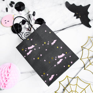 Black halloween party bags with pink bats and gold and pink stars