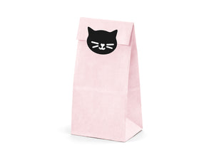 La di dah London pink party bag with black cat illustration. Children's birthday party decorations. Girls cat party.