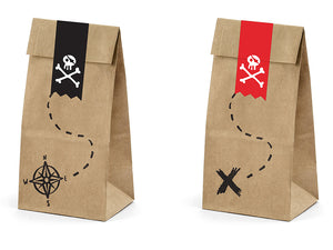 Pirate party bags in brown paper with red and black stickers with skull and bone illustrations in white. Pirate themed birthday party for girls and boys party or birthday parties from la di dah
