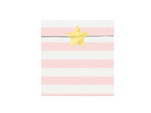 pink and white striped paper party bags with gold sticky labels for mermaid themed birthday party for girls and boys party or birthday parties from la di dah