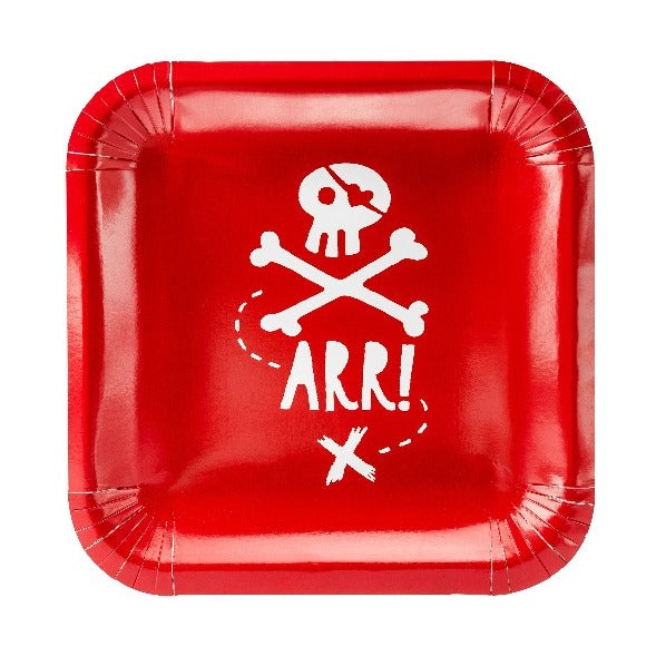 Red and white square pirate themed party paper plates.