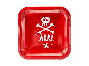 red paper plates with white illustration of skull and bones and the word arrPirate themed birthday party for girls and boys party or birthday parties from la di dah