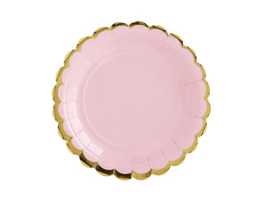La di dah London pastel party, pale pink party plate with scallop edge gold rim. Birthday party decorations.