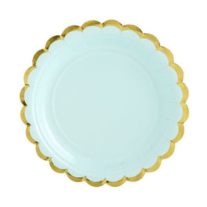 Mint green paper party plate with gold scalloped edge.