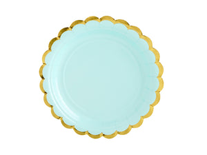 La di dah London pastel party, pale blue party plate with scallop edge gold rim. Birthday party decorations.