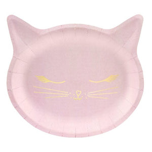 Pink cat shaped paper party plate with gold foil detail.