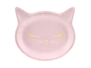 Pink cat plate with gold cat illustration. Children's birthday party decorations. Girls and boys birthday cat party.