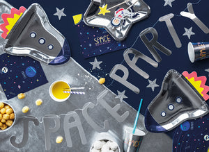 Space party garland, space party rocket plates, cups and napkins.