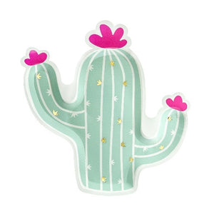 Green cactus shaped paper plates with pink flowers.