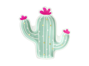 Llama party cactus plate in green and white with pink followers.