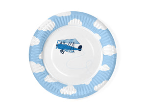 light blue and white round paper plates with white cloud detail on the border and vintage aeroplane illustration in the middle of the plate for detail ieroplane themed birthday party for girls and boys party or birthday parties from la di dah