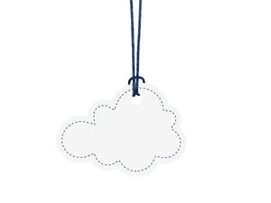Cloud name tags for party boxes in white for aeroplane themed birthday party for girls and boys party or birthday parties from la di dah