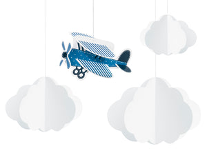 3d vintage aeroplane handing decoration in blue with 3d white cloud hanging decorations for aeroplane themed birthday party for girls and boys party or birthday parties from la di dah