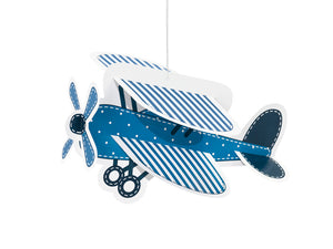 3d vintage aeroplane handing decoration in blue for aeroplane themed birthday party for girls and boys party or birthday parties from la di dah