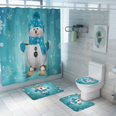 Christmas Shower Curtain Carpet Combination Bathroom Set