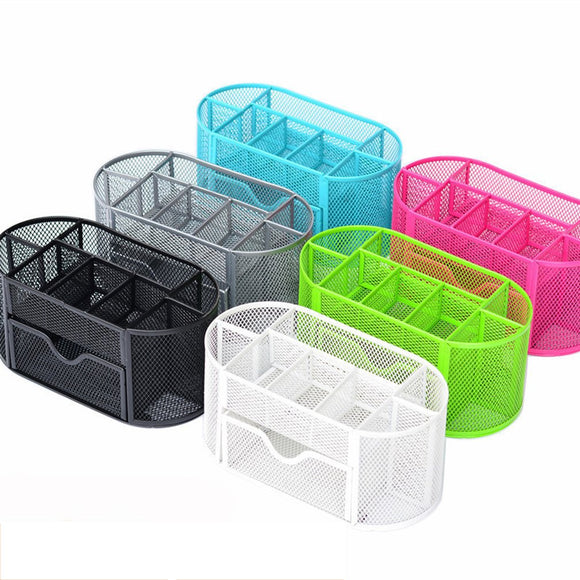 2019 New Multi-functional Desk Organizer Mesh Metal Pen Holder