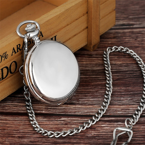 Luxury Smooth Silver Pendant Pocket Watch
