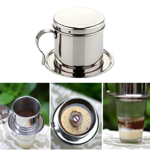 Stainless Steel Vietnamese Coffee Pot Drip Coffee Machine Filter Type Brewing Teapot