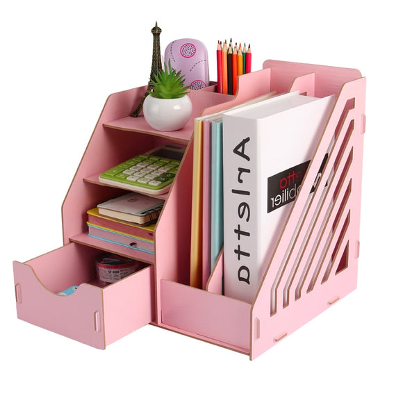 Wood Stationery Holders Desktop Storage Paper Holder Stationery Organizer Office Supplies