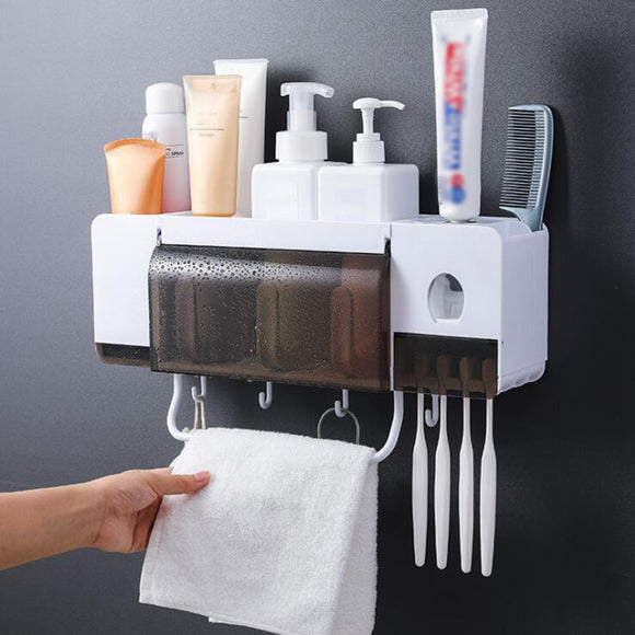 Wall-mounted Toothbrush Holder Automatic Toothpaste Dispenser