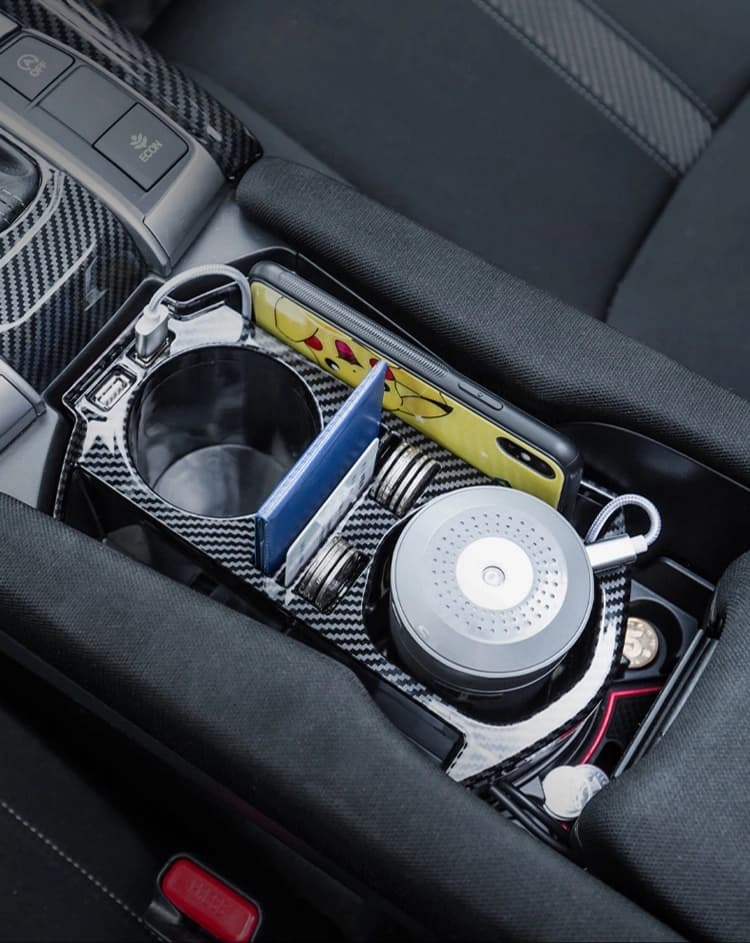 Carbon Fiber USB Cup Holder Storage Box 2016+ Honda Civic