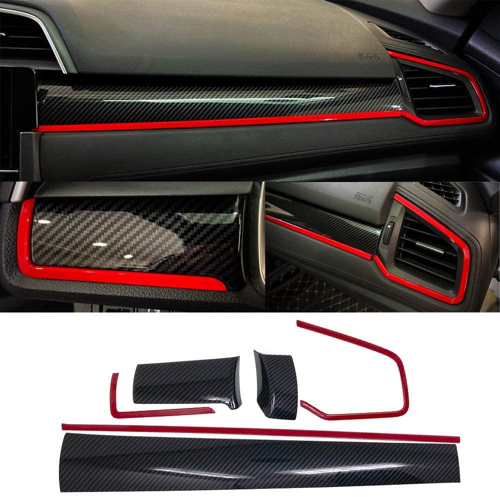 Carbon Fiber Center Panel Dashboard Trim Cover (6Pcs) 2016+ Honda Civic