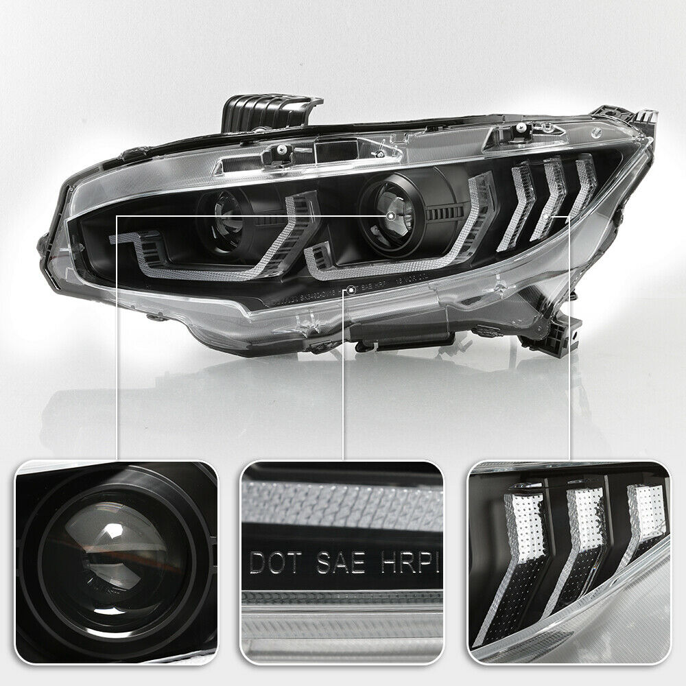 Black LED Tube Sequential Projector Headlights 2016+ Honda Civic