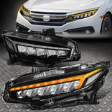 Huracan Style LED DRL+SEQUENTIAL Headlight 2016+ Honda Civic