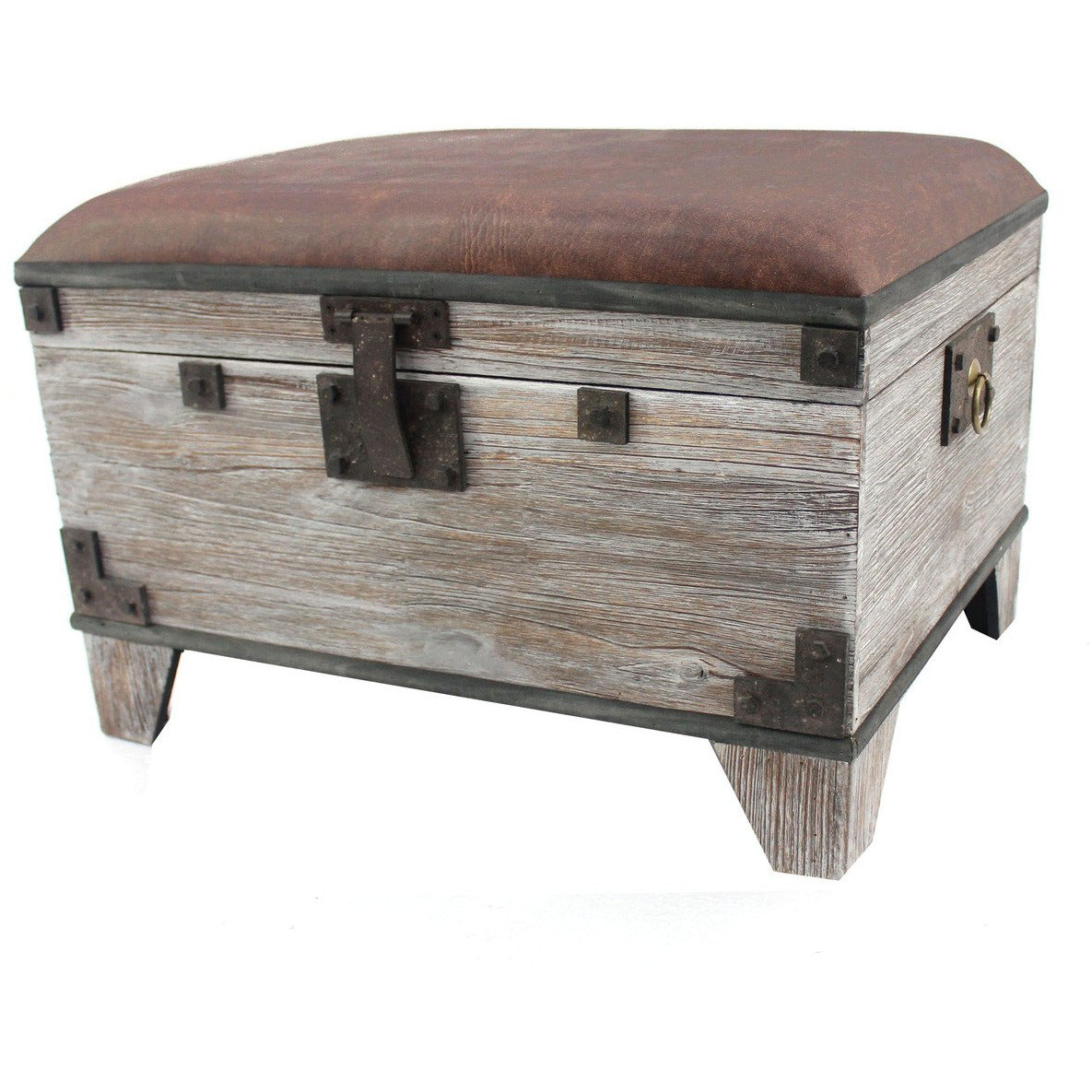 Accent And Storage Benches - Leatherette Lift Top Storage Bench With Block Legs,