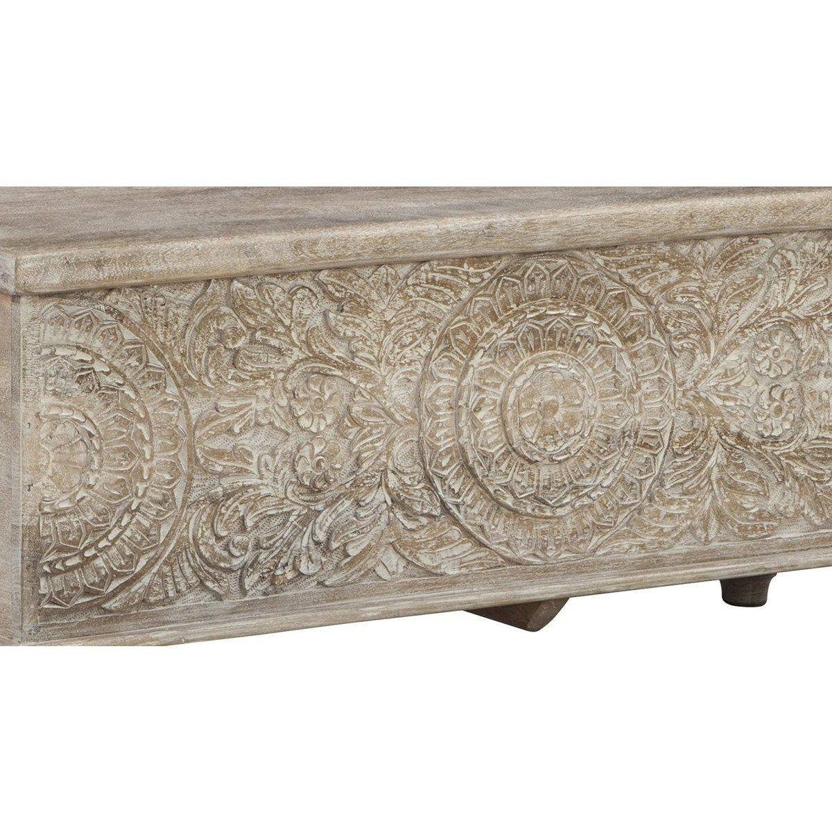 Accent And Storage Benches - Medallion Pattern Wooden Storage Bench With Hinged Opening, White