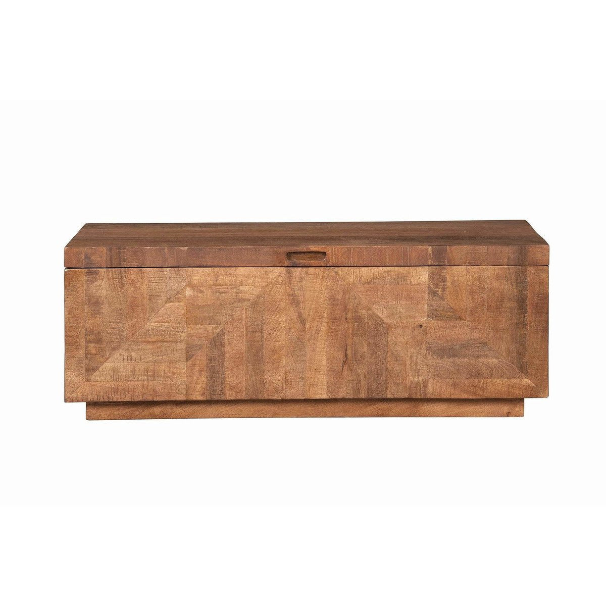 Accent And Storage Benches - Traditional Wooden Bench With Hidden Storage And Inlaid Front,