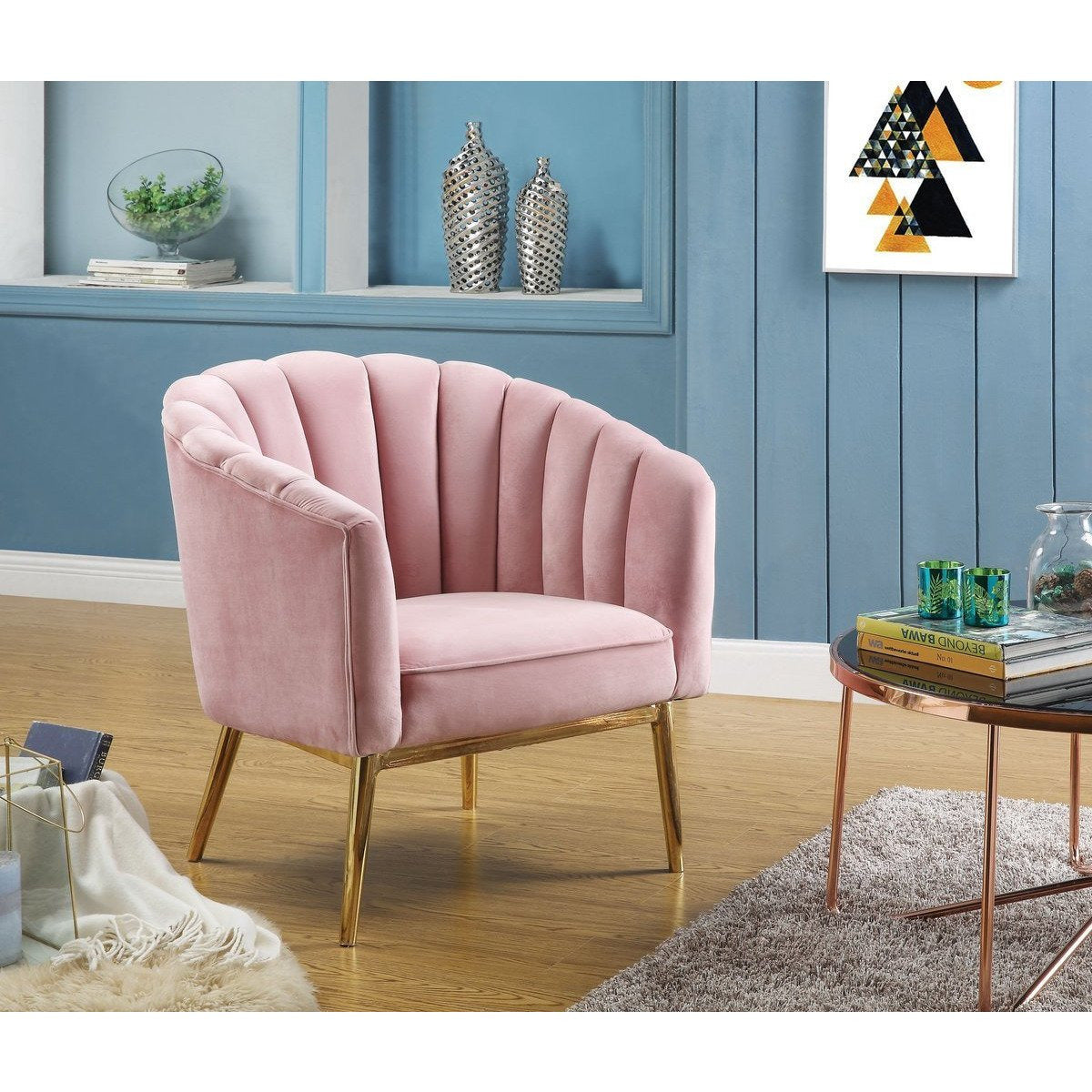 Accent Chairs - Metal And Fabric Accent Chair With Channel Tufting, Pink And Gold