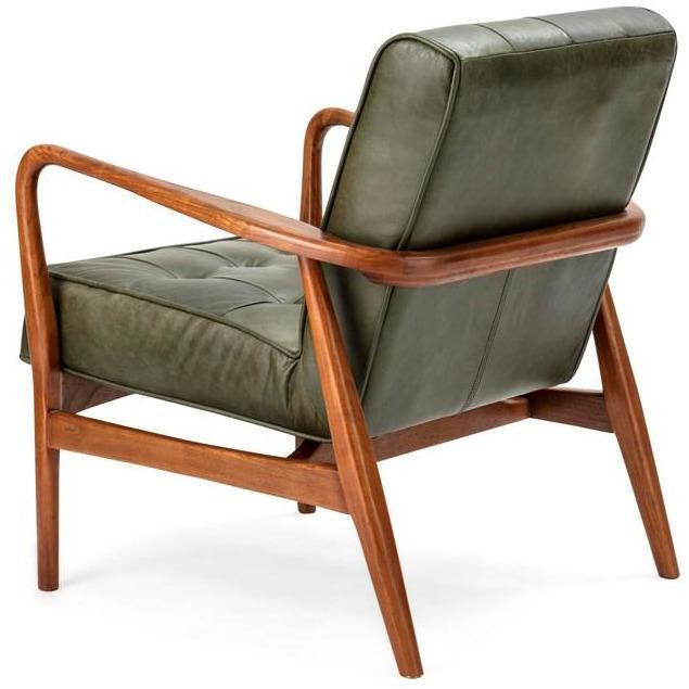 Accent Chairs - NK Verde Leather & Wood Accent Chair