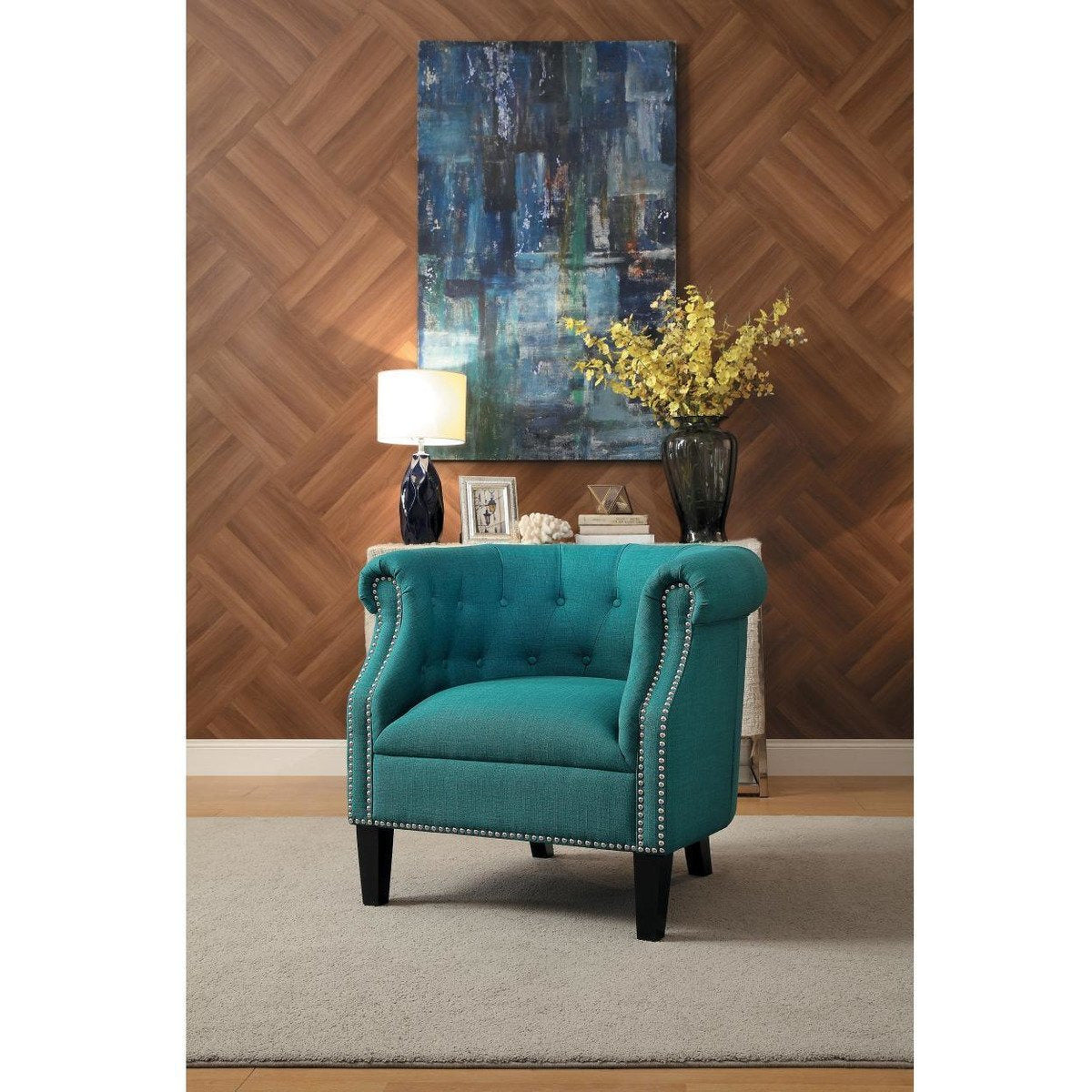 Accent Chairs - Transitional Polyester Upholstered Button Tufted Accent Chair With Nail Head Trim, Blue