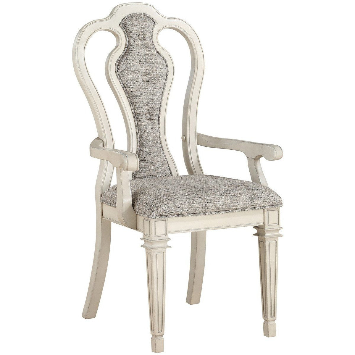 Accent Chairs - Wood And Fabric Dining Side Armchairs With Curved Back, Set Of 2, White And Gray