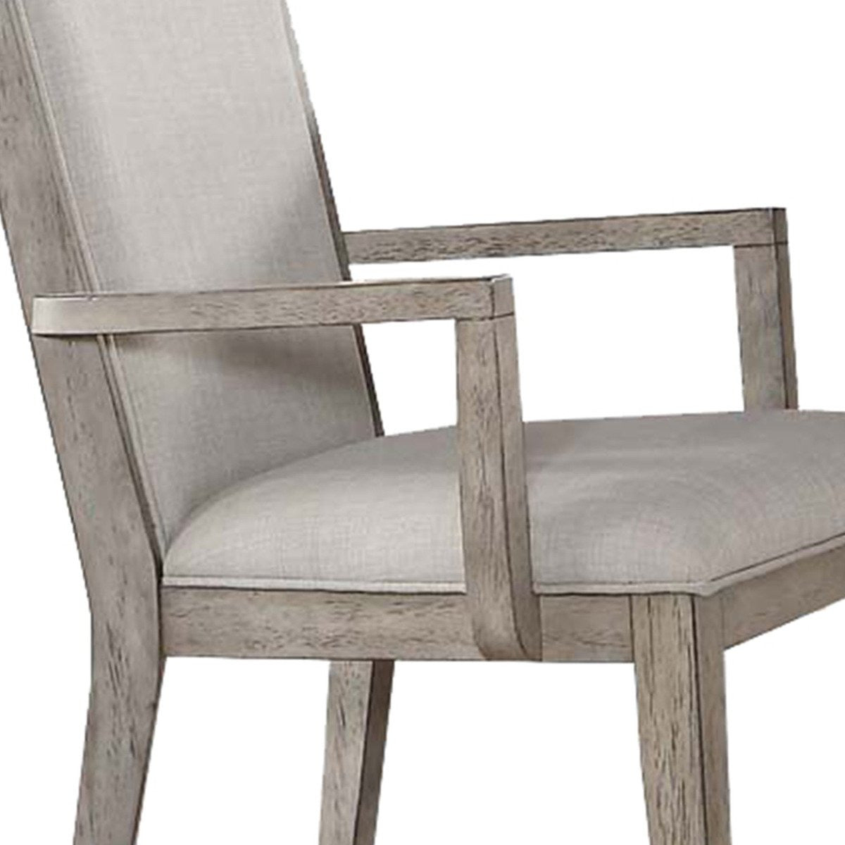 Accent Chairs - Wooden Arm Chairs With Fabric Padded Seat And High Backrest, Gray, Set Of Two