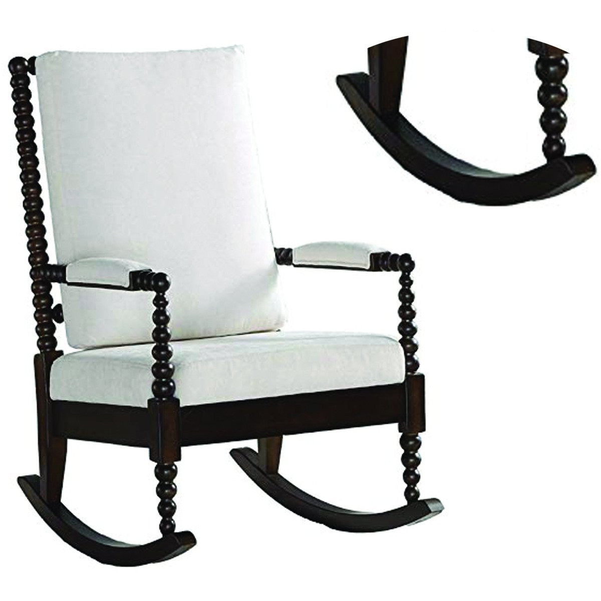 Accent Chairs - Wooden Rocking Chair With Fabric Upholstered Cushions, White And Brown