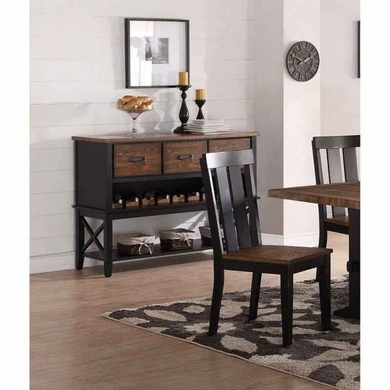 Accent Chests And Cabinets - Dual Tone Rubber Wood Server With Spacious Storages Black And Brown
