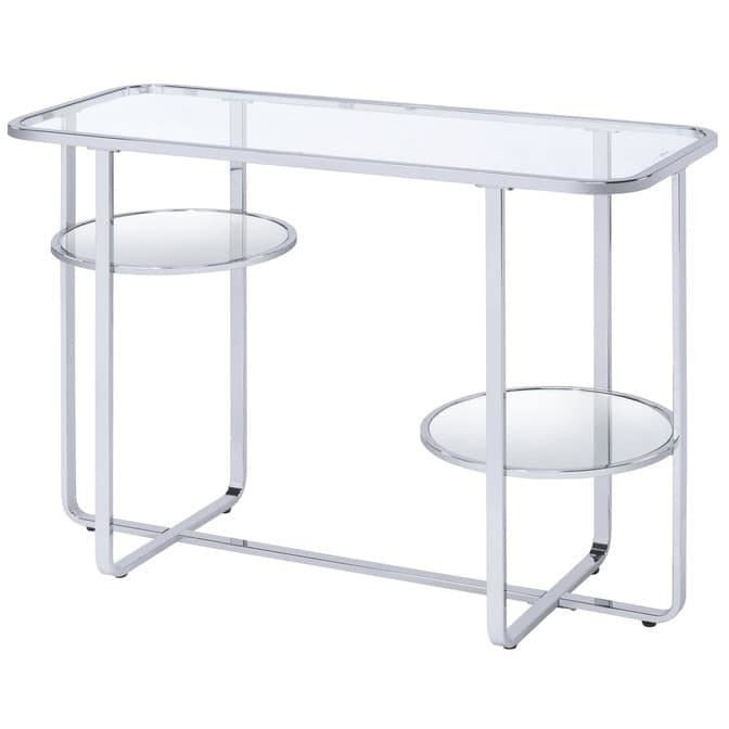 Accent Tables - Contemporary Metal Sofa Table With Glass Top, Silver And Clear