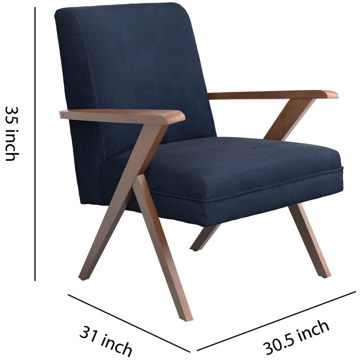 Arm Chairs - Contemporary Dual Tone Wooden Armchair With Padded Seat, Blue And Brown