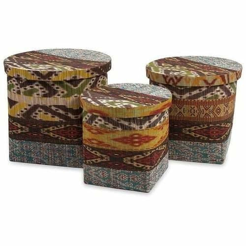 Baskets - Tymon Waterhyacinth Baskets With Lids - Set Of 3
