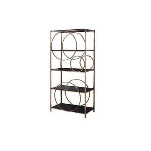 Book Cases - Etagere Bookshelf With 4 Shelves And Circular Pattern, Gold And Dark Gray