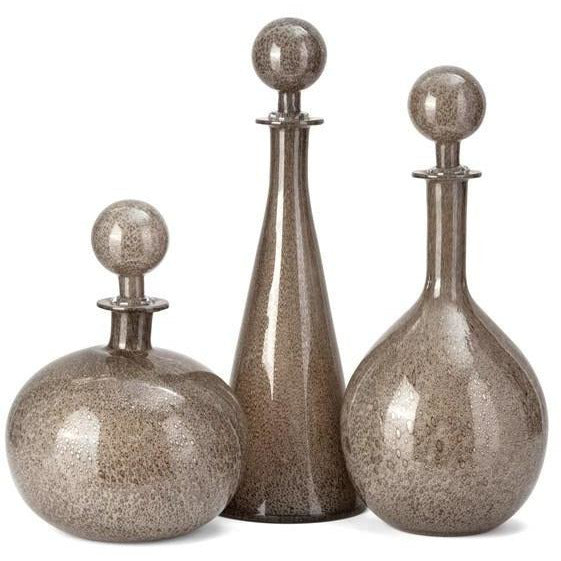 Bottles - NK Champagne Art Glass Bottles With Stoppers - Set Of 3